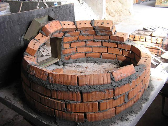 Het bouwen van de koepel van de pizzaoven